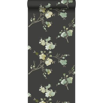 carta da parati tessuto non tessuto struttura eco fiori di ciliegio verde, giallo ocra e nero