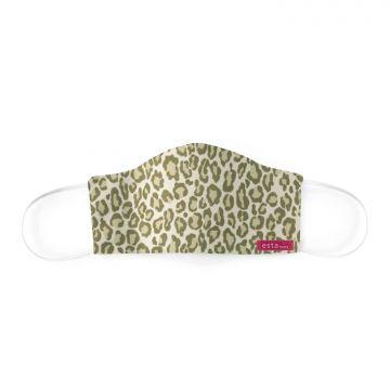 mascharina pelle di leopardo verde kaki