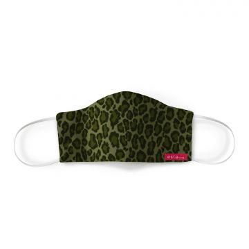 mascharina pelle di leopardo giungla verde