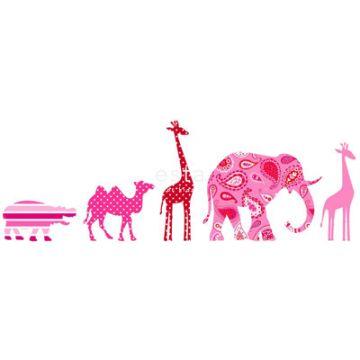 bordo carta da parati XXL in TNT animali rosa
