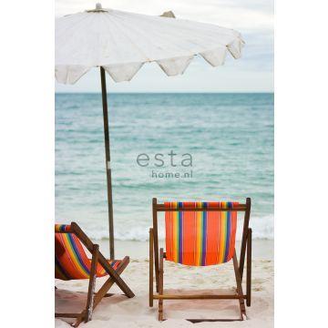 fotomurale sulla spiaggia con vista mare verde del mare e arancione