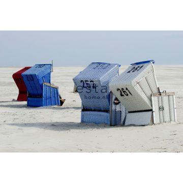 fotomurale sedia da spiaggia blu e beige