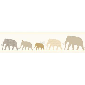 bordo carta da parati XXL in TNT elefanti beige