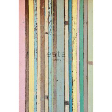 fotomurale legno dipinto rosa chiaro, giallo, blu e verde