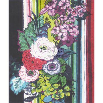 fotomurale fiori nero, rosso, blu, bianco e verde