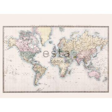 fotomurale mappa del mondo retrò vintage beige, giallo pastello chiaro, rosa cipria pastello chiaro e verde