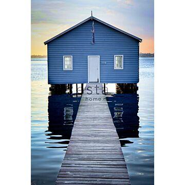 fotomurale casa al mare blu, grigio e rosso di sera