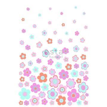fotomurale fiori retrò vintage turchese, rosa e viola