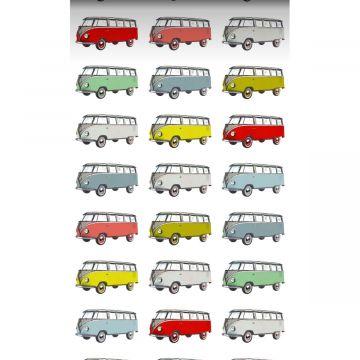 carta da parati XXL in TNT furgoni d'epoca retrò vintage Volkswagen transporter giallo, blu, grigio, rosso e verde