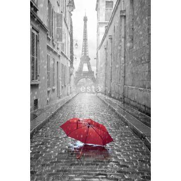 fotomurale parigi in bianco e nero con ombrello rosso grigio e rosso
