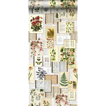 carta da parati XXL in TNT pagine di un libro botanico con fiori e piante beige crema chiaro, verde, marrone e giallo ocra