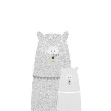 fotomurale orsi madre e figlio grigio chiaro