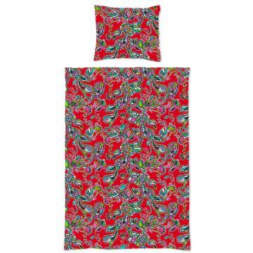 completo compripiumino singolo fiori e paisleys funky rosso