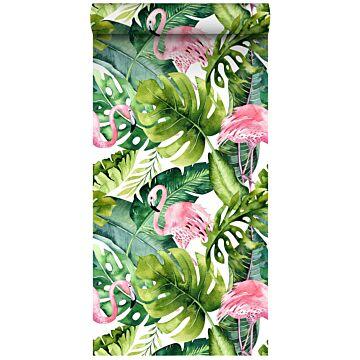 carta da parati XXL in TNT foglie tropicali con fenicotteri verde e rosa