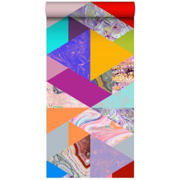 carta da parati XXL in TNT triangoli con effetto marmo giallo, blu, rosa e verde