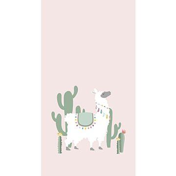 fotomurale alpaca rosa tenue e verde
