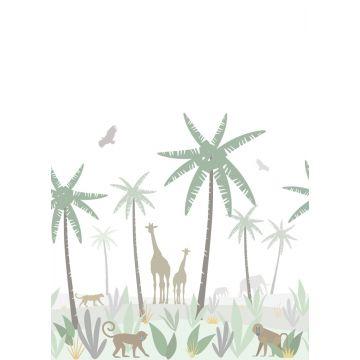 fotomurale animali della giungla verde, grigio e marrone