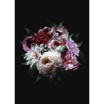 fotomurale mazzo di fiori multi colore su nero