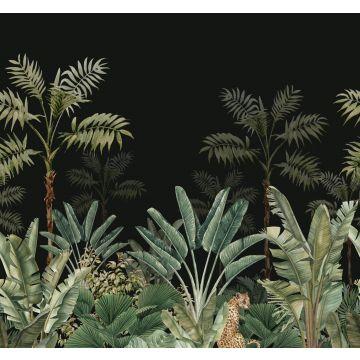 fotomurale giungla nero e verde grigiastro
