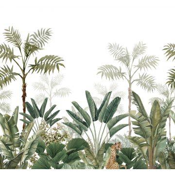 fotomurale giungla bianco e verde oliva grigiastro