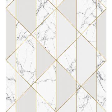 fotomurale marmo bianco e nero, grigio e oro