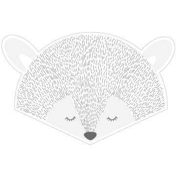 adesivo da parete teste animali grigio chiaro