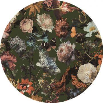 fotomurale autoadhesivo tondo fiori verde oliva grigiastro