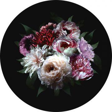 fotomurale autoadhesivo tondo mazzo di fiori multicolore e nero