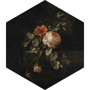 adesivo da parete mazzo di fiori nero, verde e rosa