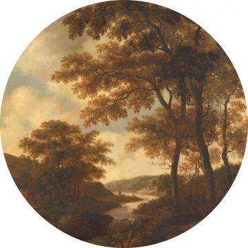 fotomurale autoadhesivo tondo paesaggio boscoso arancione