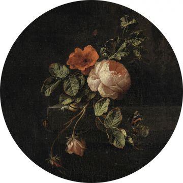 fotomurale autoadhesivo tondo mazzo di fiori nero e verde