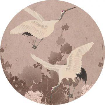 fotomurale autoadhesivo tondo uccelli gru rosa grigio