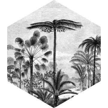 adesivo da parete paesaggio con palme bianco e nero