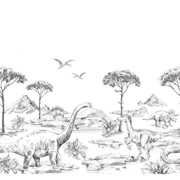 fotomurale dinosauri bianco e nero