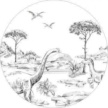 fotomurale autoadhesivo tondo dinosauri bianco e nero