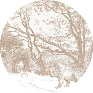 fotomurale autoadhesivo tondo foresta con animali della foresta marrone cervine