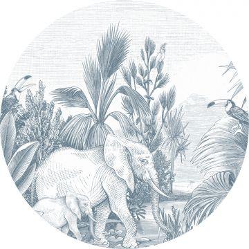 fotomurale autoadhesivo tondo giungla blu