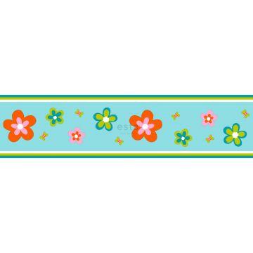 bordo di carta da parati fiori turchese e arancione