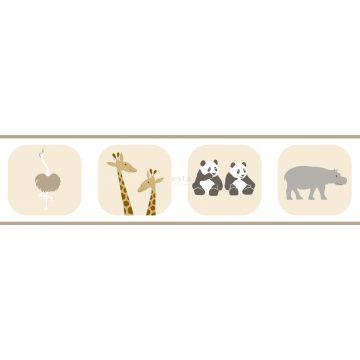 bordo di carta da parati animali beige