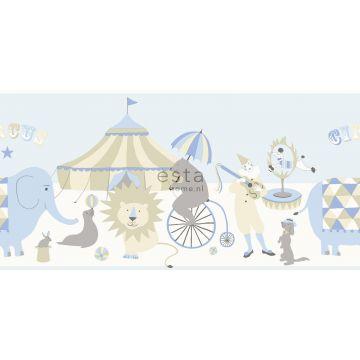 bordo di carta da parati circo blu chiaro, beige e bianco