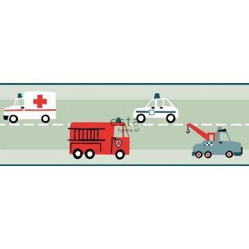 bordo di carta da parati auto, camion dei pompieri, elicotteri e gru verde menta